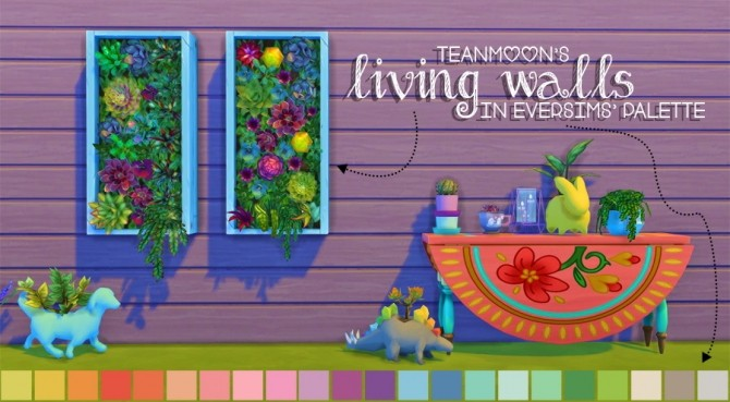 Sims 4 Teanmoons Living Walls in Eversims Palette by dtron at SimsWorkshop