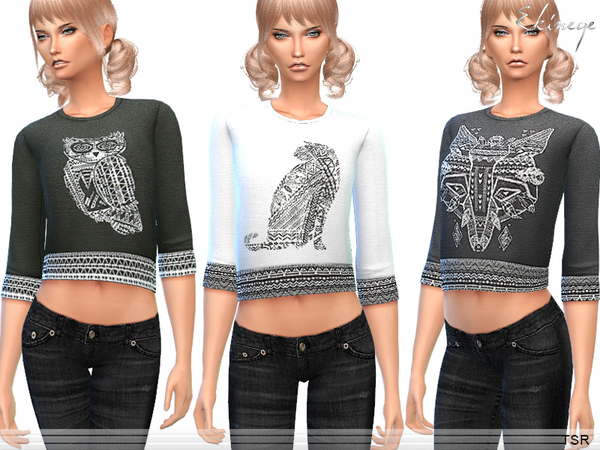 Aztec Animal Crop Top by ekinege at TSR image 9710 Sims 4 Updates