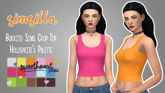 Sims 4 Burrito Sims Basic Crop Top Recolored by simsilla at SimsWorkshop