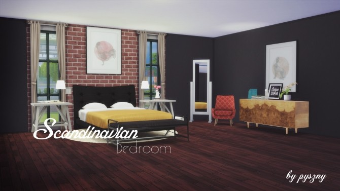 Scandinavian bedroom at pyszny design sims 4 updates for Sims 4 bedroom ideas