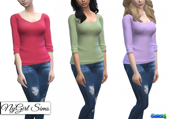 Sims 4 Three Quarter Sleeve Tee at NyGirl Sims