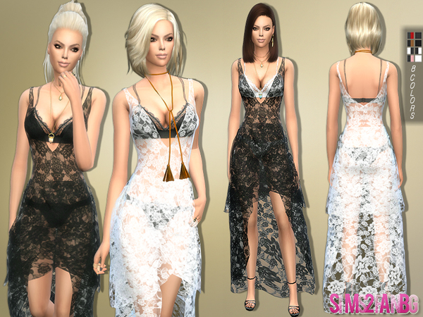 Sims 4 Lace Dress Transparent by sims2fanbg at TSR