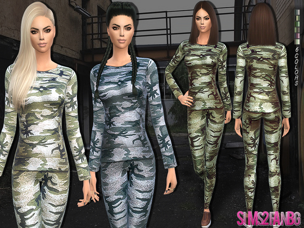 Sims 4 Camouflage outfit by sims2fanbg at TSR