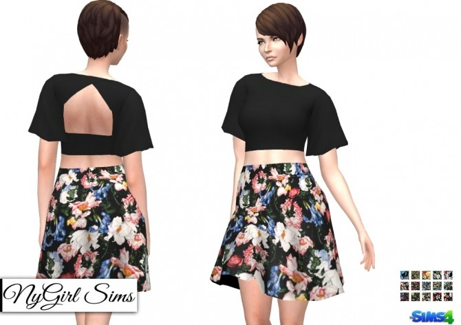 Two Piece Dark Floral Dress at NyGirl Sims image 1274 670x473 Sims 4 Updates