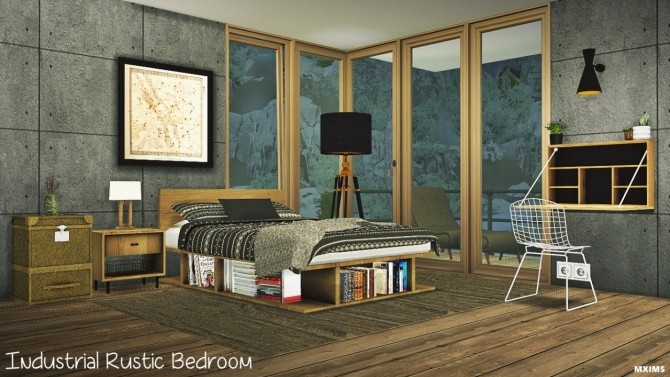 industrial rustic bedroom at mxims sims 4 updates