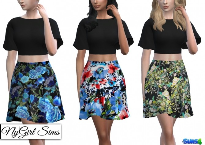 Two Piece Dark Floral Dress at NyGirl Sims image 1284 670x473 Sims 4 Updates