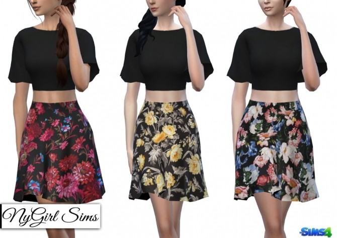 Two Piece Dark Floral Dress at NyGirl Sims image 1294 670x473 Sims 4 Updates