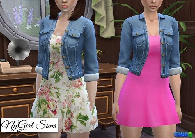 Sims 4 Spring Dress with Denim Jacket at NyGirl Sims