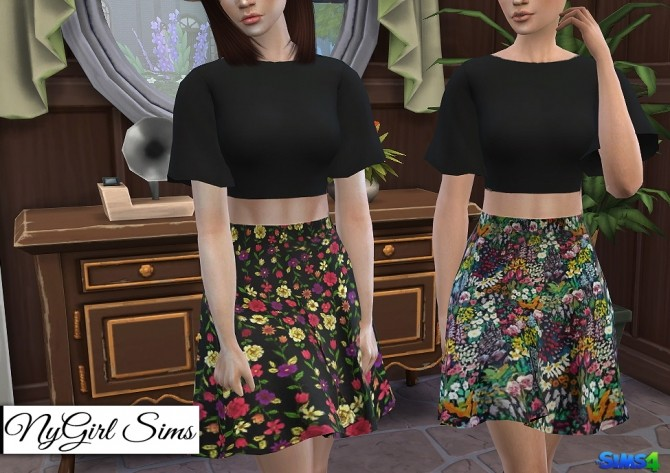 Two Piece Dark Floral Dress at NyGirl Sims image 1304 670x473 Sims 4 Updates