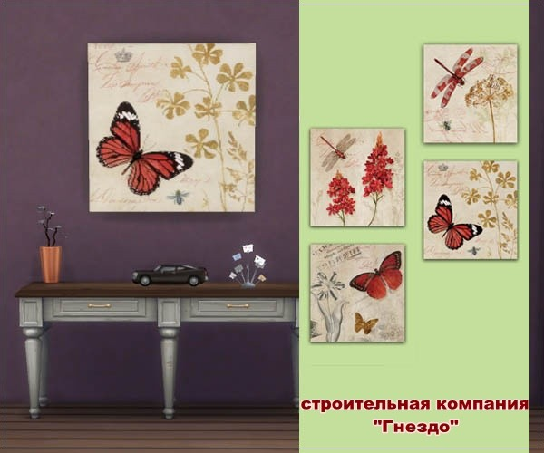Sims 4 Butterfly and Dragonfly paintings at Sims by Mulena