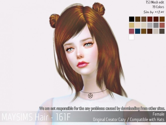 Hair 161F (Cazy) at May Sims image 1483 670x503 Sims 4 Updates