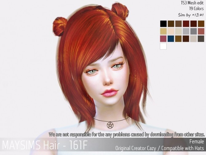 Hair 161F (Cazy) at May Sims image 1493 670x503 Sims 4 Updates