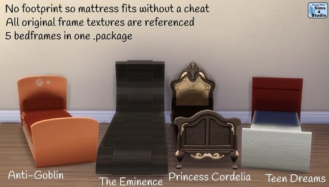 Sims 4 5 base game bedframes no mattress at Sims 4 Studio