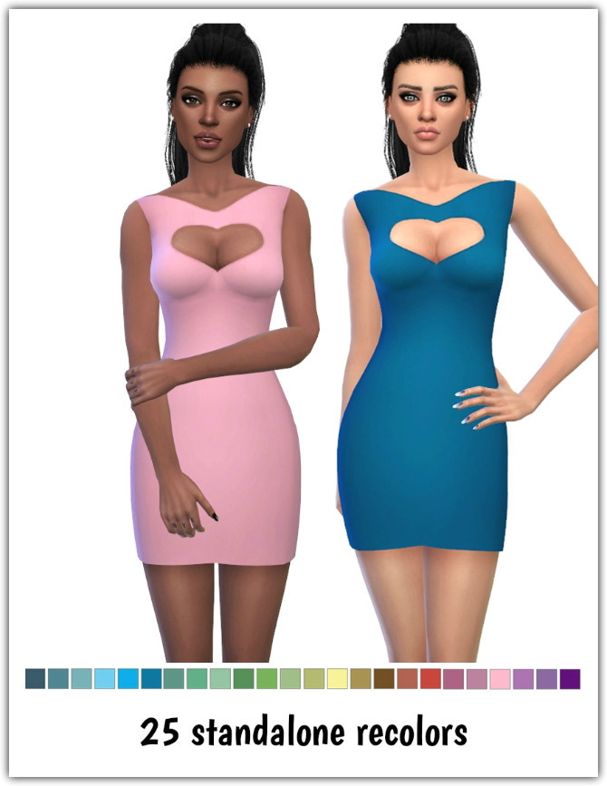 Sims 4 Heart Dress Recolors at Maimouth Sims4