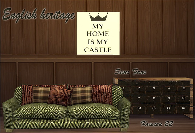 Sims 4 English heritage sofa dresser and painting by Kresten 22 at Sims Fans