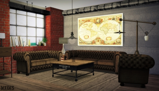 Urban Industrial Living Room At Mxims Sims 4 Updates