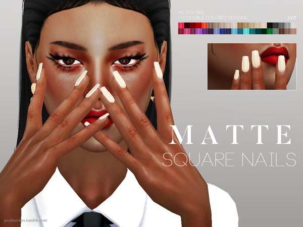 Sims 4 Matte Square Nails N07 by Pralinesims at TSR