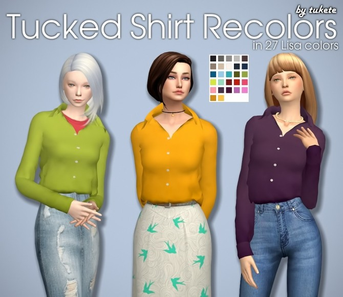 Tucked Shirt Solid Recolors at Tukete image 18211 670x580 Sims 4 Updates