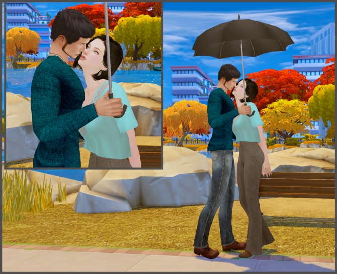With Umbrella Couple Poses At Rethdis Love 187 Sims 4 Updates