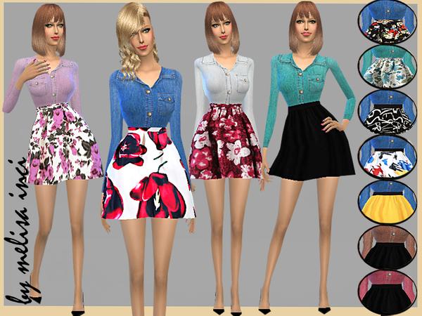 Sims 4 Denim Shirt Combine Dress by melisa inci at TSR