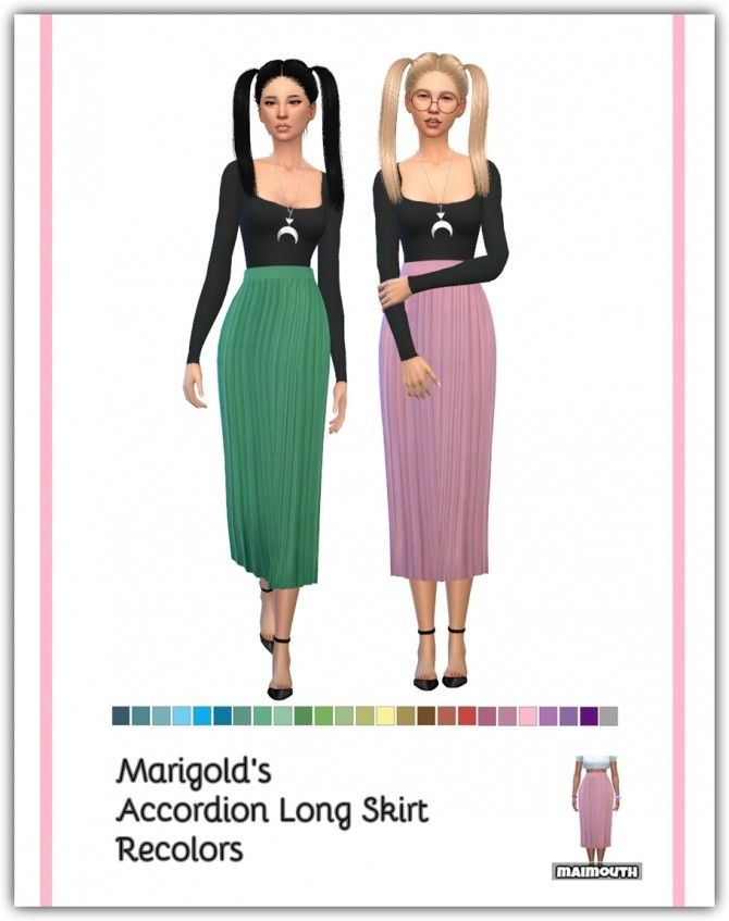 Accordion Long Skirt Recolors at Maimouth Sims4 image 1997 670x847 Sims 4 Updates