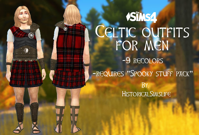 Sims 4 Celtic Mens Warrior Outfit by Anni K at Historical Sims Life