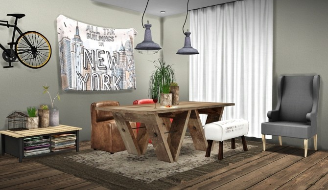 Rh dining at mxims sims 4 updates for Dining room ideas sims 4