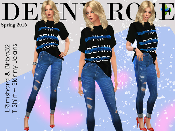 Sims 4 Denny Rose Skinny Jeans by Birba32 at TSR