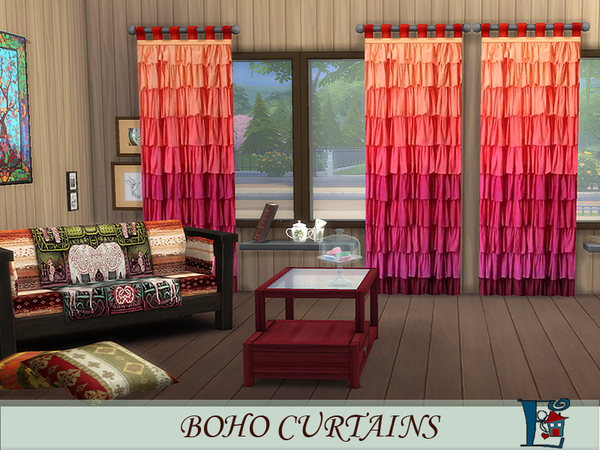 Sims 4 Boho style curtains by evi at TSR