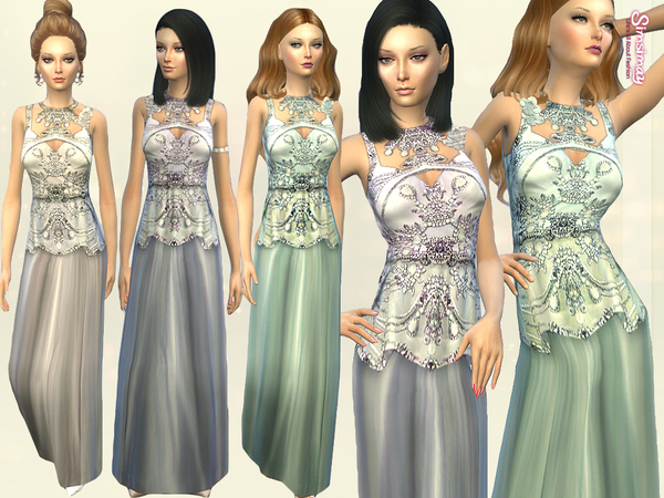 Sims 4 Elucia Embellished Gown by Simsimay at TSR