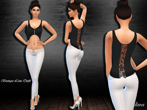 Sims 4 Boutique Louis Outfit by Saliwa at TSR