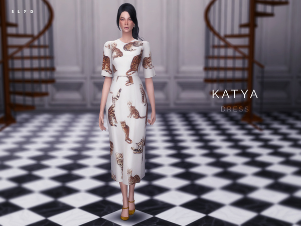 KATYA Bengal Cat Print Dress by SLYD at TSR image 2148 Sims 4 Updates