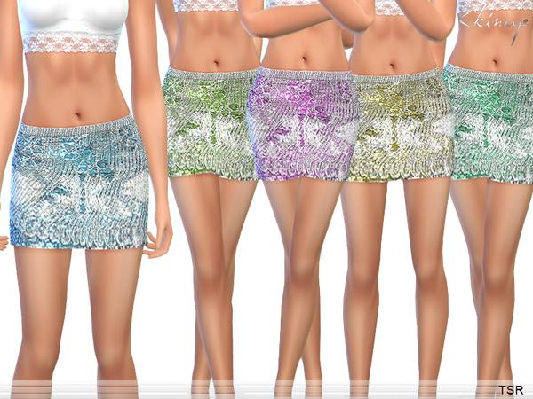 Sims 4 Metallic Knit Mini Skirt by ekinege at TSR