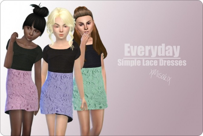 Sims 4 Simple Lace Dresses at xMisakix Sims
