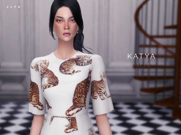 KATYA Bengal Cat Print Dress by SLYD at TSR image 2239 Sims 4 Updates