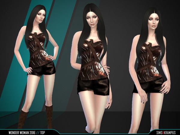 Wonder Woman Top by SIms4Krampus at TSR image 2313 Sims 4 Updates