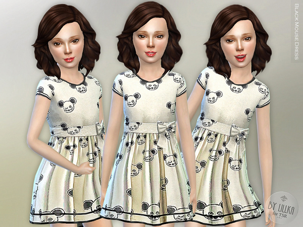 Sims 4 Black Mouse Dress by lillka at TSR