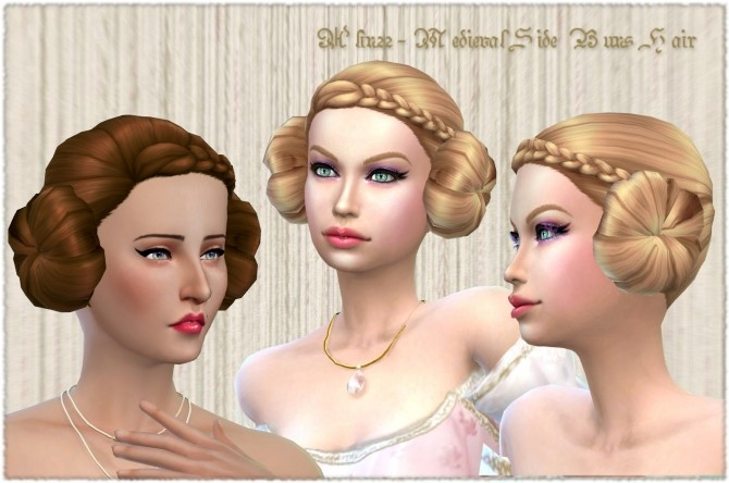 Sims 4 Medieval Side Buns at Mythical Sims