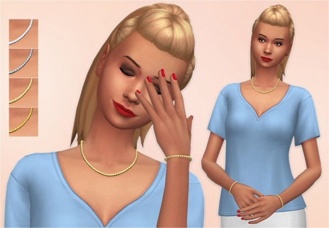 Sims 4 Claire Necklace & Bracelets at Veranka