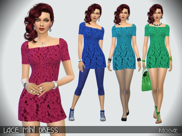 Lace Mini Dress by Paogae at TSR image 241 Sims 4 Updates
