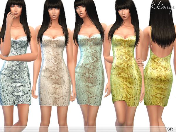 Sims 4 Snake Print Sequin Mini Dress by ekinege at TSR