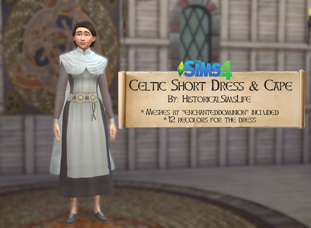 Sims 4 Celtic Short Dress and Cape by Anni K at Historical Sims Life