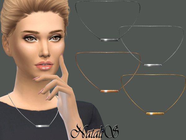 Sims 4 Metal Bar Pendant Link Necklace by NataliS at TSR