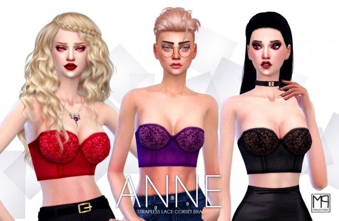 ANNE strapless lace corset bra at manuea Pinny image 24410 670x438 Sims 4 Updates