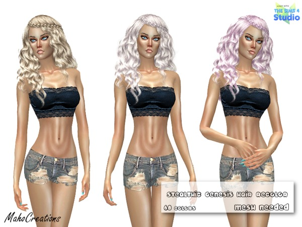 Sims 4 Stealthic Genesis Hair Recolor by  MahoCreations at TSR