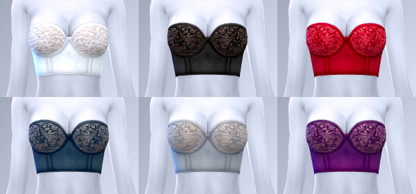 Sims 4 ANNE strapless lace corset bra at manuea Pinny