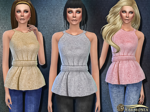 Sims 4 Peplum Muscle Top by Harmonia at TSR