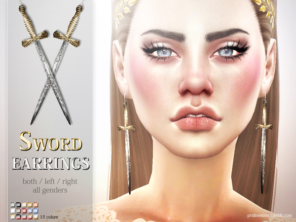 Sword Earrings by Pralinesims at TSR image 2613 Sims 4 Updates