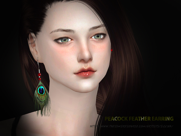 Peacock earrings by S Club WM at TSR image 2730 Sims 4 Updates