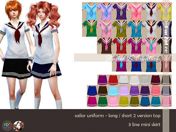 Sims 4 Sailor uniform for females at Studio K Creation